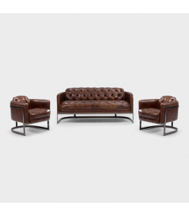 Heston Chesterfield Lounge Suite - Brushed Metal | Leather Couches | Lounge | Living | Cielo -