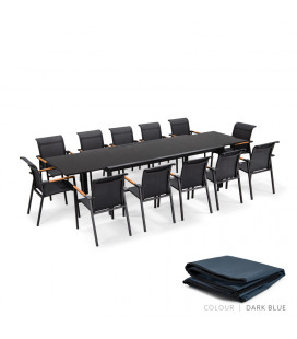 Villora Patio Dining Set - 12 Seater - Protective Cover - Dark Blue