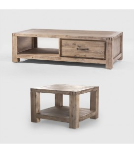 Vancouver Acacia Wood Coffee Table + Vancouver Acacia Wood Side Table