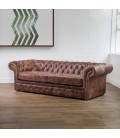 Grayson Leather Couch - Brown