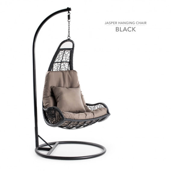 Black Jasper Pe Rattan Patio Hanging Chair for Sale -