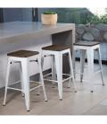Matthew Metal Stool With Wood Top   Bar Chairs -