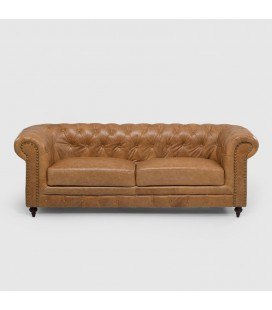 Tan Colton Chesterfield Full Leather Couch | 21 Day Deals -