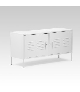Gable Steel TV Stand - White