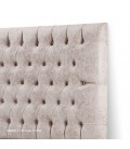 Catherine Diamond Tufted Bed - Queen XL   Vintage Stone