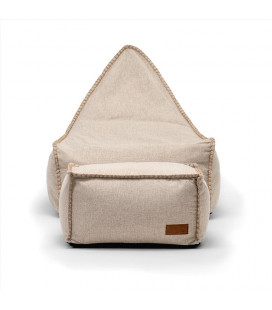 Sarika Bean Bag Chair with Footstool - Stone | Bean Bags | Kids | Living | Cielo -