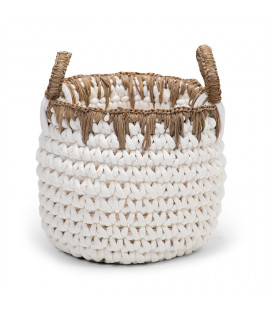 Kiman Basket - Small - White & Natural | Baskets | Decorative Items | Decor | Cielo -