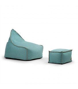 Sarika Bean Bag Chair with Footstool - Ocean Green | Bean Bags | Kids | Living | Cielo -
