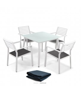 Silvio Dining Table & San Benito Chairs - Protective Cover - Dark Blue