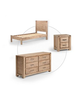 Vancouver Bed + Chest of Drawers + Pedestal