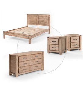 Vancouver Bed + Chest of Drawers + Pedestal Set