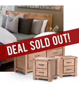 Vancouver Bed + Chest of Drawers + Pedestal Set -