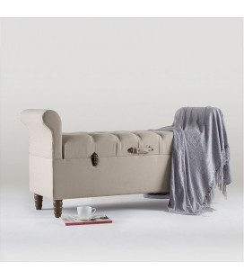 Buttoned Storage Bench - Fabric
