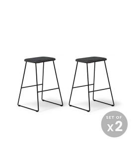 Plex Counter Bar Chair - Ebony - Set of 2 -