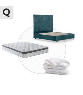 Tiffany + Raiden Bed + Cloud Comfort + Duck Feather Duvet - Queen - Aged Teal -