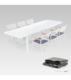 Cayman Patio Dining Set - Protective Cover - Grey