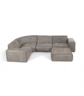Jagger Leather Modular - Corner Couch With Ottoman -