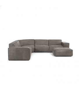 Jagger Leather Modular - Grand Corner Couch with Ottoman -
