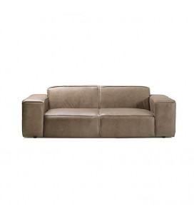 Jagger 3 Seater Leather Couch - Smoke -