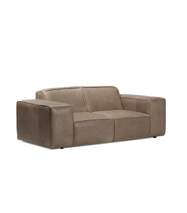 Jagger 2 Seater Leather Couch - Smoke -