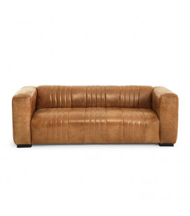 Rockefeller Leather Couch - Wax Crackle Ginger -