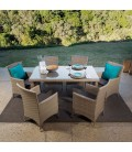 Nevada 6 Seater Patio Dining Set - Stone -