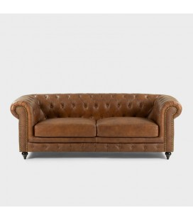 Light Brown Colton Chesterfield Full Leather Couch -