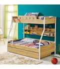 Kids Double Bunk Bed with Trundle Bed