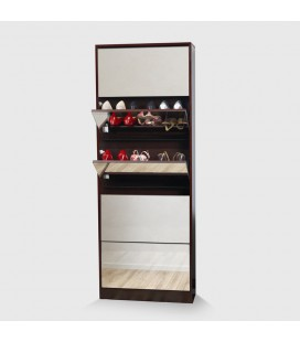 Double Capacity Mirrored Shoe Cabinet - Brown